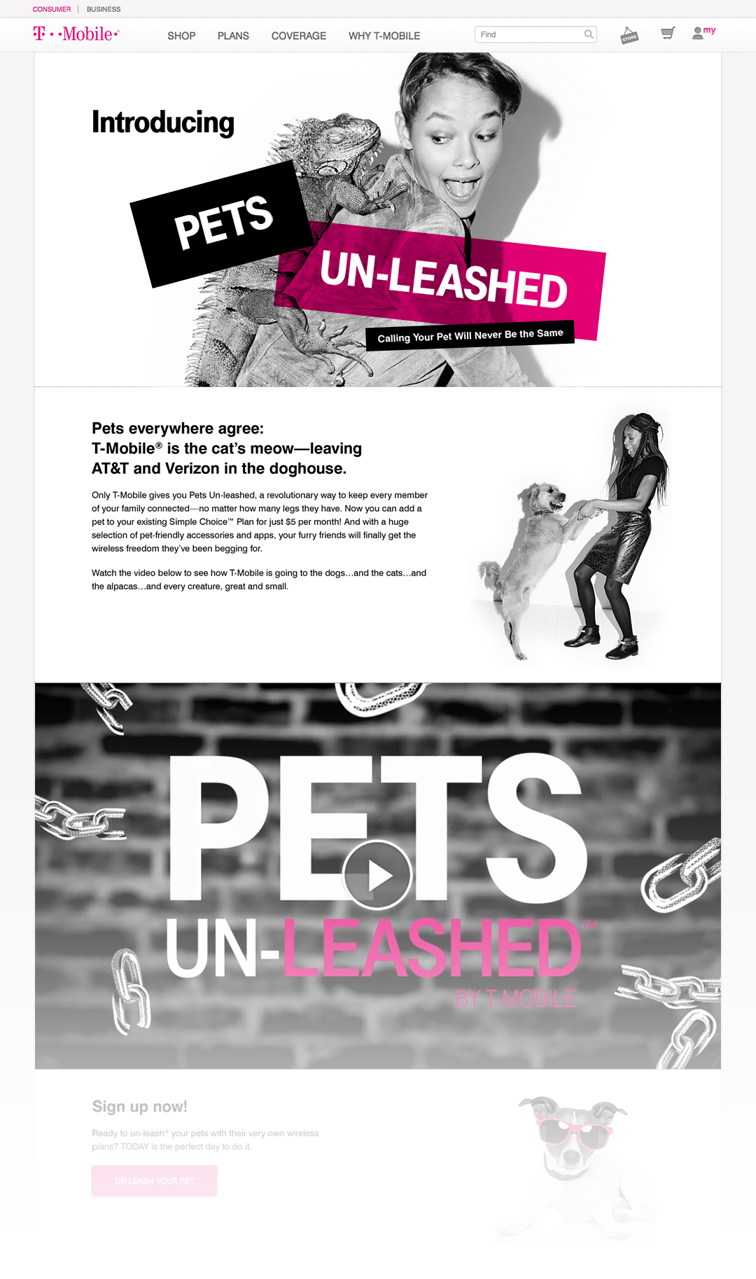 T-Mobile Pets Unleashed landing page